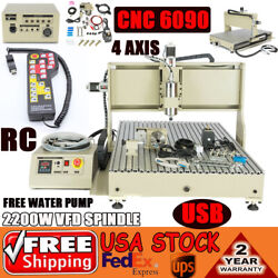 6090 Usb Cnc 2.2kw 4axis Engraving Machine Spindle Motor Wood With Controller