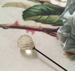 Antique Edwardian Jewellery Steel Hat Pin Glass Crystal Ball Old Vintage Jewelry