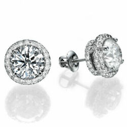 Classic 14kt Yellow Gold Round Cut Diamond Stud Earrings 1.00 Ct H/si2