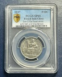 Pcgs Sp65 French Indo China 1937 20 Cents Essai Pattern