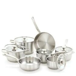 Old Dutch Cookware Set Stainless Steel Built-in Handles Dishwasher Safe 12-piece