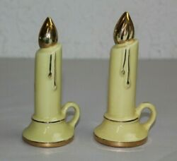 Vintage Ceramic Dripping Candle Sticks Salt And Pepper Shakers Yellow Gold 6