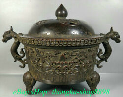 10 Old Chinese Purple Bronze Dynasty Dragon Elephant Incense Burners Censer