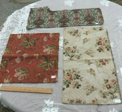 3 French Antique Tapestry Fabric Samples c1890 1910