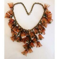 Vintage Unsigned Celluloid And Brass Bell Necklace - 1930's - Usa
