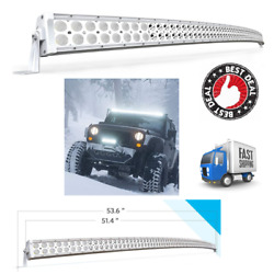 52 Inch 300w Curved Led Light Bar White Spot Flood Combo Offroad Jeep Ford Gmc
