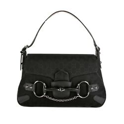 BRAND NEW TOM FORD FOR GUCCI Black BOAR LEATHER GG LOGO HORSEBIT BAG AUTHENTIC $459.00