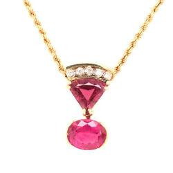 Unique Vintage Pink Tourmaline And Diamond Pendant With 14k Rope Chain