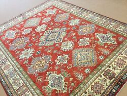 8andrsquo X 10andrsquo Red Beige Fine Geometric All-over Hand Knotted Oriental Area Rug Wool