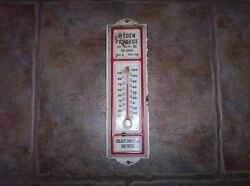 Vintage Golden Sun Feeds Thermometer Sign Produce Poultry Eggs Farm Supply Iowa