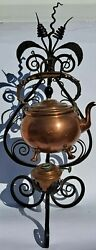 Antique Tea Kettle, Copper Teapot Holder, Wrought Iron Table Stand, Circa 1893