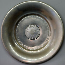Turkey Ottoman 800 Silver Low Bowl / Plate With 1293 Silver Coin