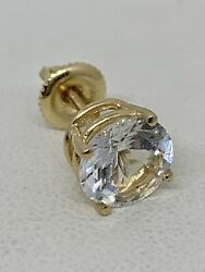 Vintage Aquamarine In 14k Yellow Gold Screw Back Earring Or Tie Tack, 8mm, 2ct