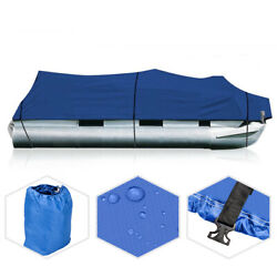 25and039-28and039 Heavy Duty 600d Fabric Waterproof Trailerable Pontoon Boat Cover Blue