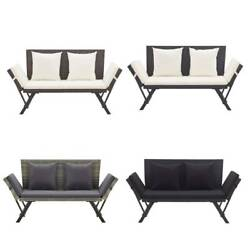 Day Bed Outdoor Sun Bed Garden Bench Lounger Set Rattan Patio Chair With Cushion