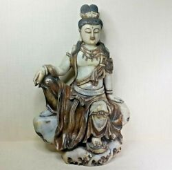 Antique Chinese Soapstone Figure Of Guanyin 19th-20th Century.