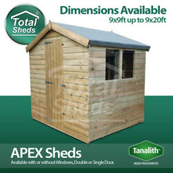 Total Sheds Apex Pressure Treated Tanalised Shed Sizes From 9x9 To 9x20