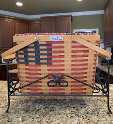 Longaberger Large Flag Basket Liner Protector Wrought Iron Stand For Magazines