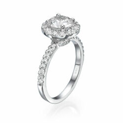 1 3/4 Ct Diamond Engagement Ring Round Cut F/si1 14k White Gold Size Selectable