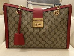 Gucci Supreme Padlock Medium Canvas and Red Tote Shoulder Bag $2100 $1650.00