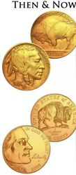 Full Date Us Buffalo Indian Head Nickel Set 24k Gold Plated 5 Cent 1930s And 2005