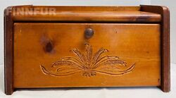 Vintagesolid Wood Breadbox With Wheat Design Front21011g S132