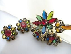 Vintage Weiss Brooch Earrings Set Multicolor Flower Crystal Rare Piece Signed