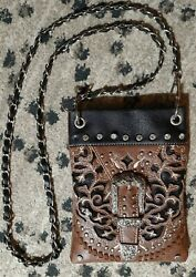 Brown Western 8quot; Embellished Studded Crossbody Purse Chain Strap $19.00