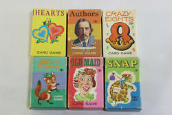 Game 6 Lot Vintage Whitman Playing Cards-complete Set Original Rules Old Maid