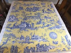 Charles Burger French Toile Fabric Yellow And Blue 22 1/2 Yards Ballon De Gonesse