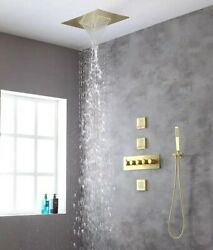 Thermostatic Brass Rectangular Shower System With 3 Pcs Body Jets Brushed Gold