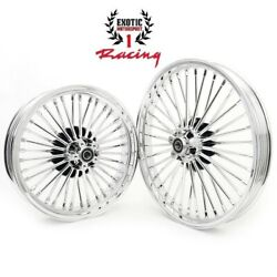 New Chrome Fat Spoke Front Rear Wheel Rims Softail Touring 21 X 2.15 And18 X 5.5