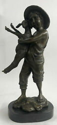 Rare Bronze Metal Statue On Marble Young Lad Farm Boy Lamb Sheep Sculpture Gift