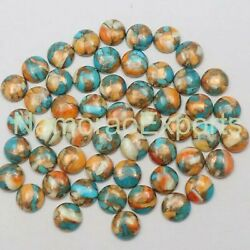 10x10 Mm Round Mohave Copper Turquoise Cabochon Loose Gemstone Lot 100 Pcs