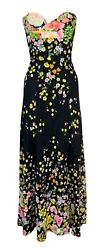 Vintage S/s 1993 Gianni Versace Runway Black Floral Strapless Bustier Gown Dress