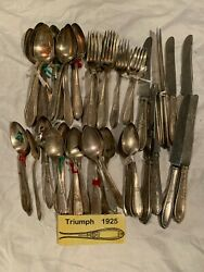 Triumph 1925 International Silver Knife Fork Spoon Set Lot 83 Pieces Use Jewelry