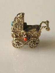 Vintage 14k Gold Large 4d Pram Baby Carriage Charm/pendant Coral/turquoise