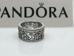 New W/box Pandora Forget Me Not Purple And Clear Cz Ring 190991acz 50, 52 Or 54