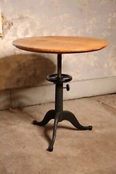 Antique Cast Iron Table Industrial Base Round Wood Top Desk Coffee End Dining