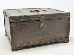 Antique Wooden Storage Chest Dowry Box Original Old Hand Carved