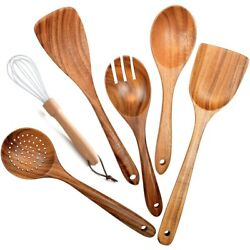 5xwooden Utensils For Kitchen 6pcs Wooden Spoons For Cooking Wood Spatula