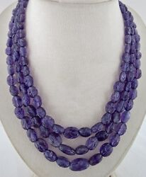Natural Amethyst Carved Beaded Necklace 3 L 696 Carats Gemstone Antique String