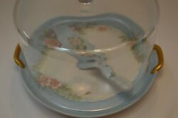 Vintage Cake Plate With Glass Dome Krosno Poland Hand Painted With Matching Serv