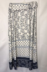 Robert Louis Women's Floral Maxi Skirt Size Large White Blue $16.00