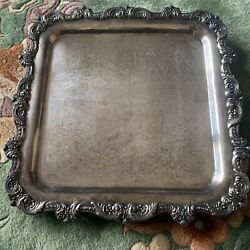Poole Silver Epca 12 In X 12 In Silver Plated Footed Tray B12