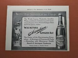 Antique 1900and039s Soda Bottle - Waukesha Arcadian Ginger Ale - 1907 Print Art Ad