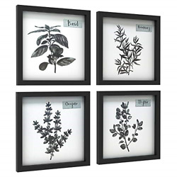 ArtbyHannah 4Pack 12x12 Black Picture Frame Kitchen Wall Art Decor for Dining