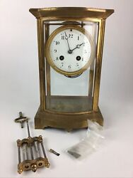 Antique Japy Freres Brass And Glass Mantle Clock - Glass Pendulum - Parts/repair