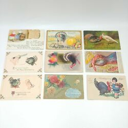 Vintage Early 1900's Thanksgiving Post Cards - Lot Of 9 Turkeys And Children