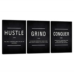 Motivational Canvas Wall Art Grind Hustle Conquer Office Wall Decor Framed For